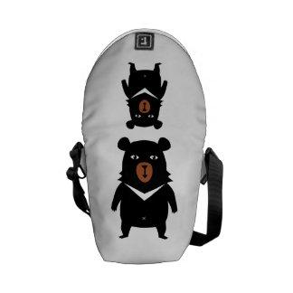 Black bear cartoon messenger bag