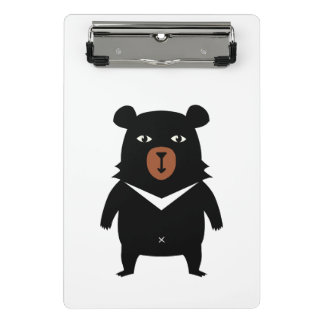 Black bear cartoon mini clipboard