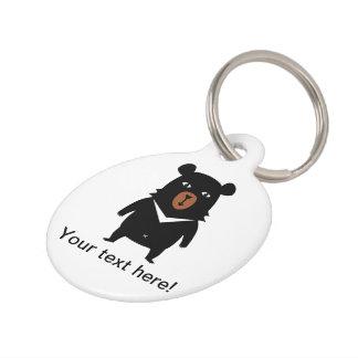Black bear cartoon pet ID tag