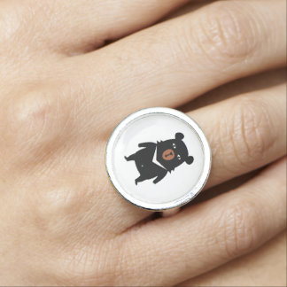 Black bear cartoon photo ring