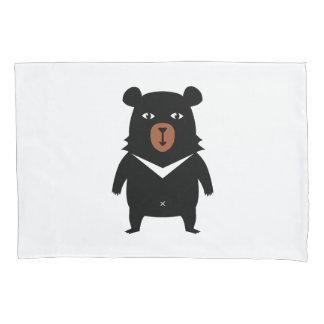 Black bear cartoon pillowcase