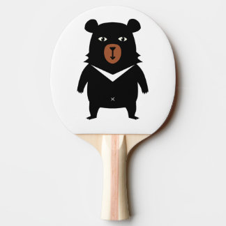 Black bear cartoon ping pong paddle