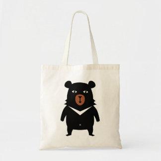 Black bear cartoon tote bag