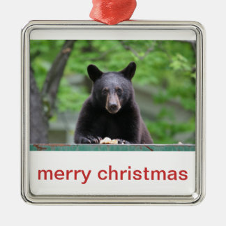 black bear christmas metal ornament