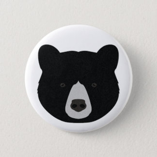 Black Bear Face 2 Inch Round Button