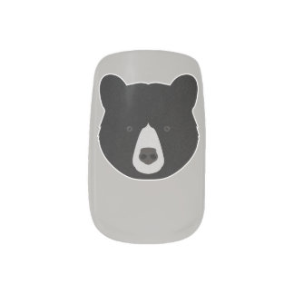 Black Bear Face Minx Nail Art