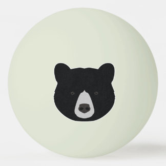 Black Bear Face Ping Pong Ball