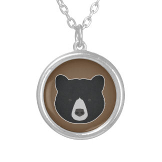 Black Bear Face Silver Plated Necklace