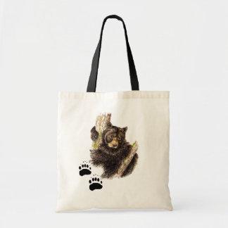 Black Bear Footprint Tote Bag