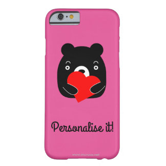 Black bear holding a heart barely there iPhone 6 case