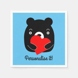 Black bear holding a heart disposable napkin