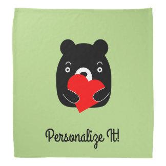 Black bear holding a heart kerchiefs