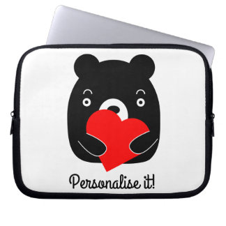 Black bear holding a heart laptop sleeve