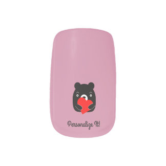 Black bear holding a heart minx nail art