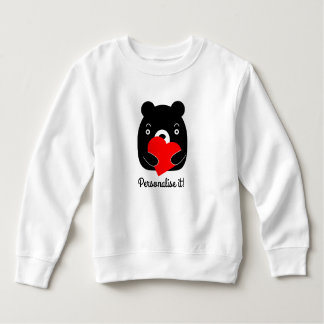 Black bear holding a heart sweatshirt