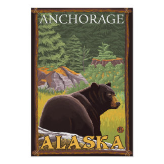 Black Bear in Forest - Anchorage, Alaska Poster