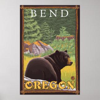 Black Bear in Forest - Bend, Oregon Poster
