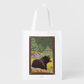 Black Bear in Forest - Montana Grocery Bags