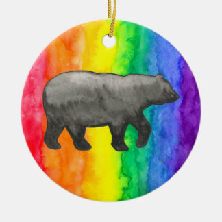 Black Bear on Rainbow Wash Circle Ornament