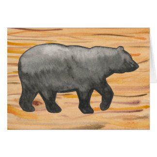 Black Bear on Wood Card