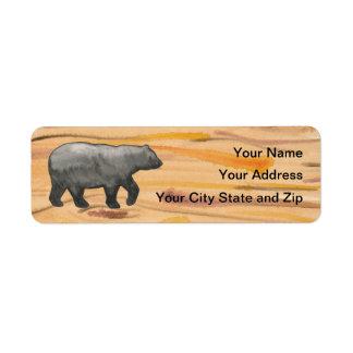 Black Bear on Wood Mailing Label Return Address Label