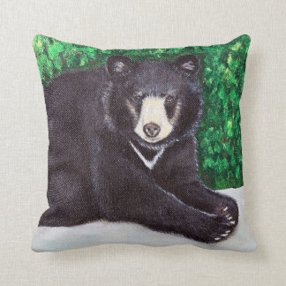 Black Bear Painting Throw Pillow