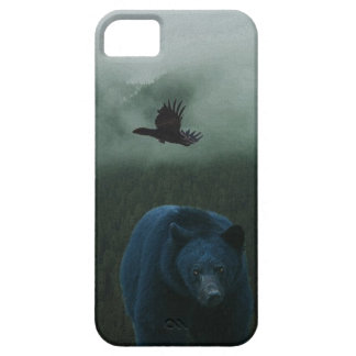 Black Bear & Raven & Misty Mountain Wildlife Theme iPhone 5 Case