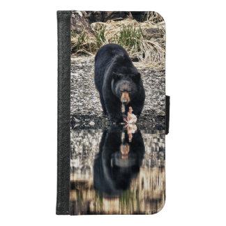 Black Bear Reflections Samsung Galaxy S6 Wallet Case