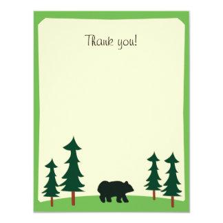 BLACK BEAR Rustic Flat Thank you note card