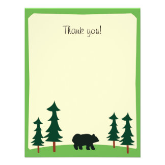 BLACK BEAR Rustic Flat Thank you note card Personalized Invites