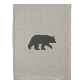 Black Bear Silhouette Duvet Cover