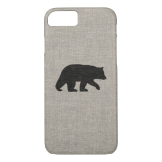 Black Bear Silhouette Faux Linen Burlap Style iPhone 8/7 Case