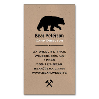Black Bear Silhouette Magnetic Business Card