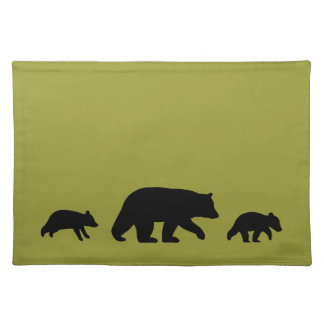 Black Bear Silhouettes - Customizable Color Placemat