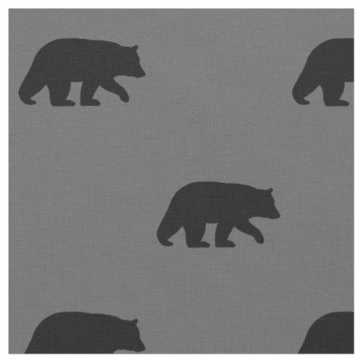 Black Bear Silhouettes Pattern Fabric