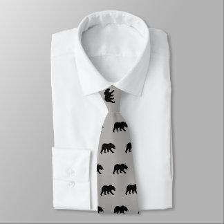 Black Bear Silhouettes Pattern Tie