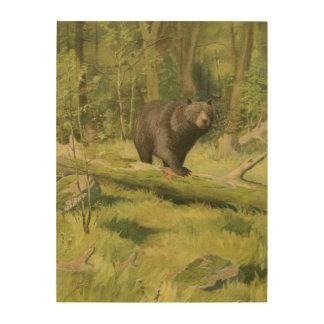 Black Bear Stepping on a Tree Trunk Wood Wall Decor