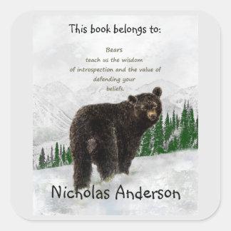 Black Bear Totem Animal Spirit Guide Bookplate Square Sticker