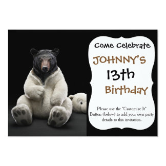 "Black bear wearing polar bear costume 5"" x 7"" invitation card"