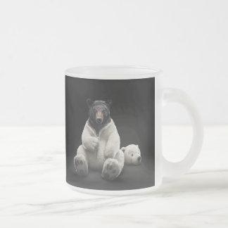 Black bear wearing polar bear costume frosted glass mug