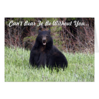"Black Bear Wildlife ""Can't Bear It"" Greeting Card"