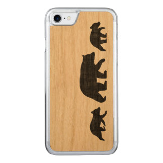 Black Bear with Cubs Silhouettes Carved iPhone 8/7 Case