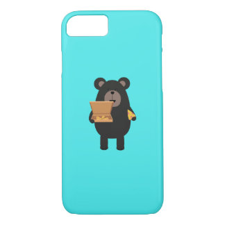 Black Bear with pizza Q1Q iPhone 8/7 Case