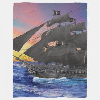 Black Beard's Pirate Ship Fleece Blanket