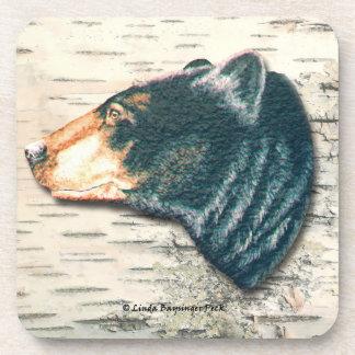 Black Bear's Head Birch Bark Background Drink Coaster