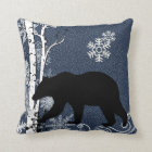 Black Bears in Winter Birch Forest Throw Pillow