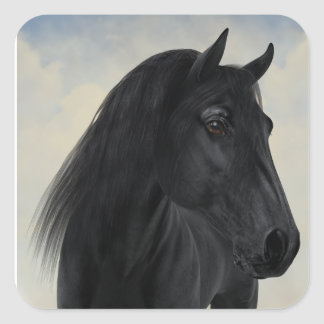 Black Beauty - Black Friesian Horse Portrait Square Sticker