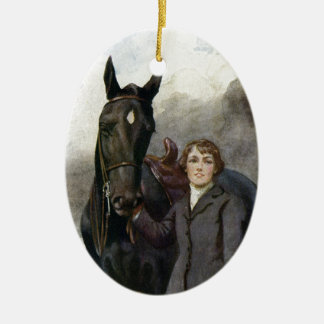 Black Beauty - She Chose Me For Her Horse Ceramic Oval Ornament