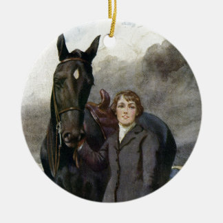 Black Beauty - She Chose Me For Her Horse Round Ceramic Ornament