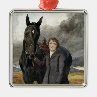 Black Beauty - She Chose Me For Her Horse Silver-Colored Square Ornament